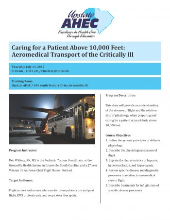Caring For A Patient Above 10,000 Feet: Aeromedical Transport Of The Critically Ill July 13