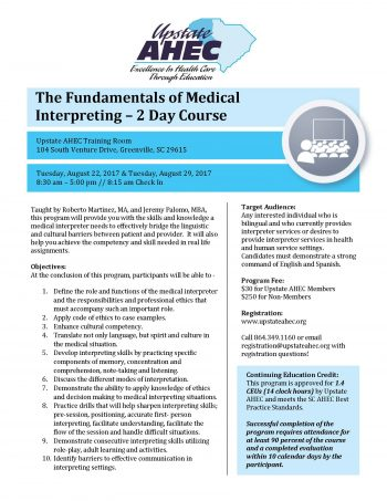 The Fundamentals Of Medical Interpreting – 2 Day Course Aug 22 & 29