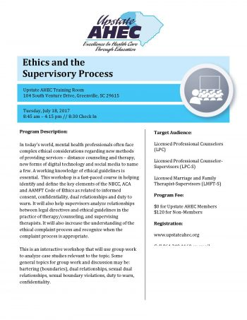 Ethics And The Supervisory Process July 18th