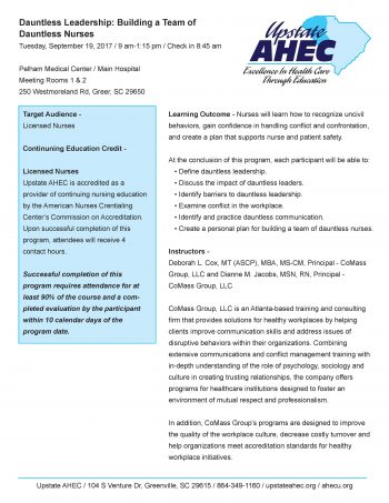 Dauntless Leadership: Building A Team Of Dauntless Nurses 09/19