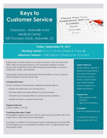Keys To Customer Service Sept 29th 9:15AM