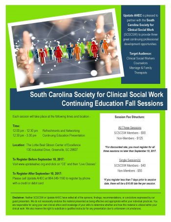 SCSCSW:  The Reason I Need You / Eating Disorders / Tending The Tender –  Discounted Rate For All Three Sessions