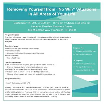 """Removing Yourself From """"No Win"""" Situations In All Areas Of Your Life Sept 14"""