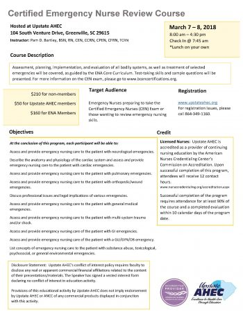 Certified Emergency Nurse Review Course March 7-8