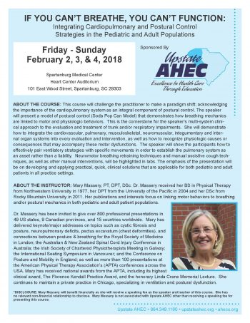 IF YOU CAN'T BREATHE, YOU CAN'T FUNCTION: Integrating Cardiopulmonary And Postural Control Strategies In The Pediatric And Adult Populations  Feb 2-4
