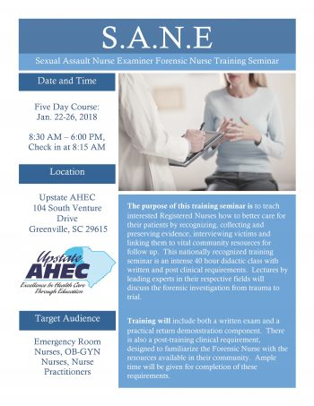 S.A.N.E. Sexual Assault Nurse Examiner Forensic Nurse Training Seminar Jan 22-26
