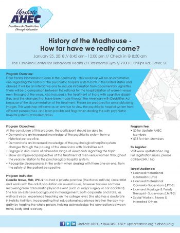 History Of The Madhouse –  How Far Have We Really Come? January 25