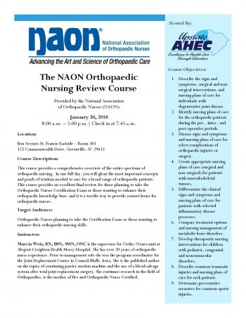 The NAON Orthopaedic Nursing Review Course Jan 30