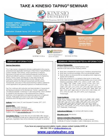 KINESIO TAPING® ASSESSMENTS, FUNDAMENTAL CONCEPTS,  AND TECHNIQUES FEB 23-24